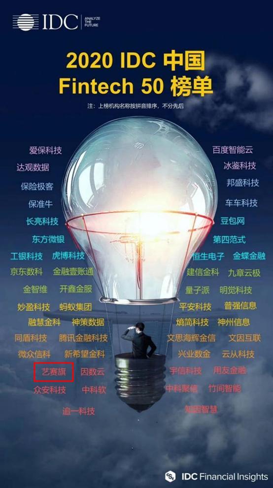 艺赛旗荣登 2020 IDC 中国 Fintech 50 榜单