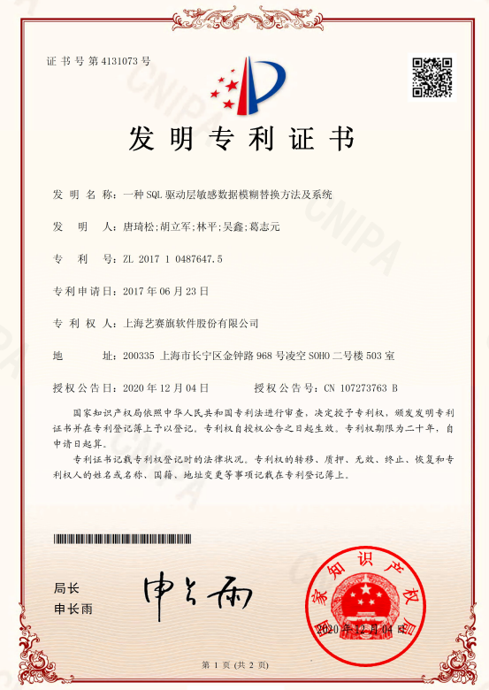 艺赛旗喜获国家发明专利授权